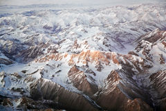View from the aircraft to the mountains in Tashkent Royalty Free Stock Photo