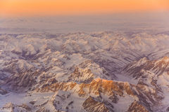 View from the aircraft to the mountains in Tashkent Stock Photography