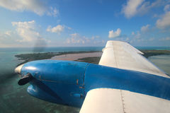 View through aircraft window. View of a small airplane through the window Royalty Free Stock Photos