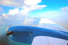 View through aircraft window. View of a small airplane through the window Royalty Free Stock Photography