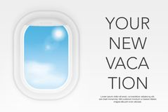 View from airplane. Aircraft flight interior window. Vacation destinations concept. Your new vacation. View from airplane. Aircraft flight interior window royalty free illustration