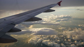 A view from the airplane. The aircraft is flying through the clouds.Air travel concept.  stock footage