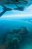 View from the airplane coast of Africa. And island Royalty Free Stock Photos