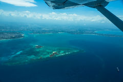 View from the airplane coast of Africa. And island. Tanzania. Near Dar es Sallam Stock Photography