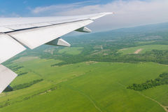 View from airplane on Earth surface. Royalty Free Stock Photos