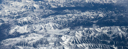View from airplane on Earth surface. Royalty Free Stock Images