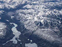 View from airplane on Earth surface. Royalty Free Stock Image