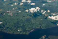 View from airplane on Earth surface. Royalty Free Stock Photography