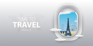 View from airplane. Flight window. France. Flat web vector banner. stock illustration