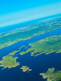 View from airplane flying over Norway. Royalty Free Stock Photo