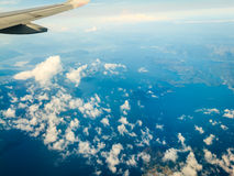 View from airplane flying over Norway. Royalty Free Stock Images