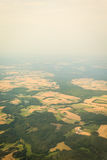 View from airplane flying over Poland. Royalty Free Stock Image