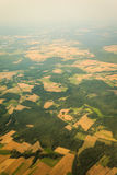 View from airplane flying over Poland. Stock Photo