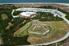 View from an airplane of ft macon, nc and the atlantic ocean royalty free stock images