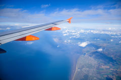 View from airplane of the Isle of Man coastline, United Kingdom Stock Photography