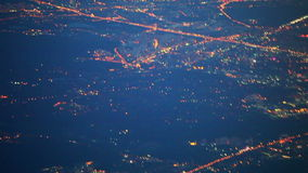 View from airplane of night Moscow stock video