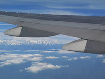 View from airplane over mountain everest. View from window airplane over the everest mountain Royalty Free Stock Photography