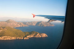View from the airplane over the sea Stock Images