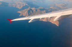 View from the airplane over the sea. Royalty Free Stock Image