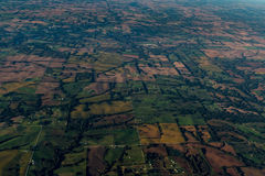 View from an airplane in the sky in Kansas and Missouri. Stock Photos