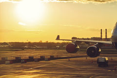 View from airplane standing at airport. Royalty Free Stock Photography