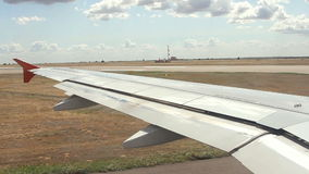 View from airplane before takeoff stock footage