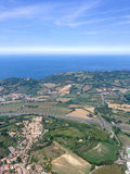 View from the airplane to the coastline, Italy, Riccione stock photo