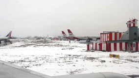 View from airplane to the Domodedovo International airport. stock video