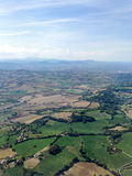 View from the airplane to the fields, Italy, Riccione. Riccione is one of the most popular and visited resort towns on the Adriatic coast in the Emilia-Romagna Royalty Free Stock Photography