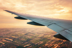 View from the airplane to the sunset sky Royalty Free Stock Photo