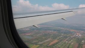 View from airplane window stock video footage