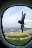 View from the airplane window aircraft propeller Stock Photo