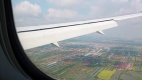 View from the airplane window. On Bangkok, Thailand stock video footage