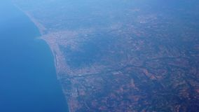 View from the airplane window. Flight over Italy stock video footage