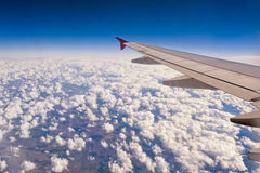 View from airplane window. sky and clouds Stock Images