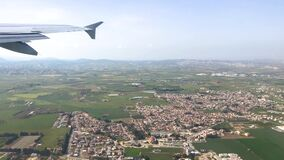 View from the airplane window to the city of Larnaca in Cyprus. stock video footage