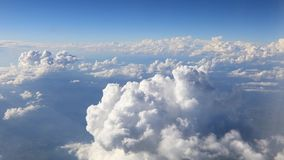 View from the airplane window to the clouds.  stock video