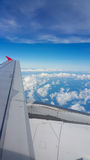 View from airplane window, Top view from airplane, Clouds on the sky and view from airplane window Stock Image