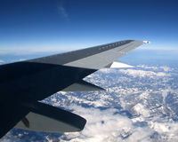 View of airplane wing Royalty Free Stock Photography