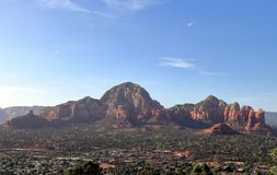 A view from Airport Mesa of Thunder Mountain, Capitol Butte and Submarine Rock in Sedona stock photography