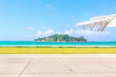View from airport runway at Anonyme Island - a small granitic is Royalty Free Stock Images