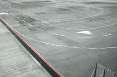 View of airport runway from window of airplane. To runway Royalty Free Stock Images