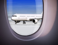 View of airport through window Stock Photos