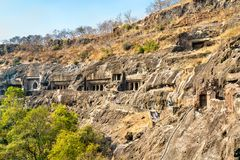 View of the Ajanta Caves. UNESCO world heritage site in Maharashtra, India. Panoramic view of the Ajanta Caves. A UNESCO world heritage site in Maharashtra royalty free stock image