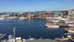 View from Akershus fortress to the Oslo fjord. And harbor in the center of the Norwegian city of Oslo stock footage