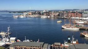 View from Akershus Fortress to Oslo Fjord and Oslo Harbor. View from the Akershus fortress to the Oslo fjord and arriving at the port in Oslo, Norway stock video footage
