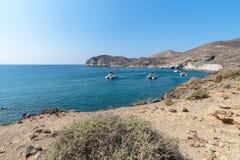 Akrotiri beach - Santorini Cyclades island - Aegean sea - Greece. View of Akrotiri beach - Santorini Cyclades island - Aegean sea - Greece royalty free stock photos
