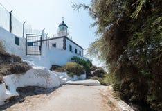 Akrotiri lighthouse - Santorini Cyclades island - Aegean sea - G. View of Akrotiri lighthouse - Santorini Cyclades island - Aegean sea - Greece royalty free stock photo