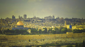 View of the Al-Aqsa Mosque, Old Town and old Jewish cemetery in Jerusalem Royalty Free Stock Photo
