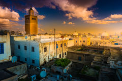 View of the Al-Zaytuna Mosque and the skyline of Tunis at dawn. The mosque is a Landmark of Tunis. Tunisia, North africa Royalty Free Stock Image